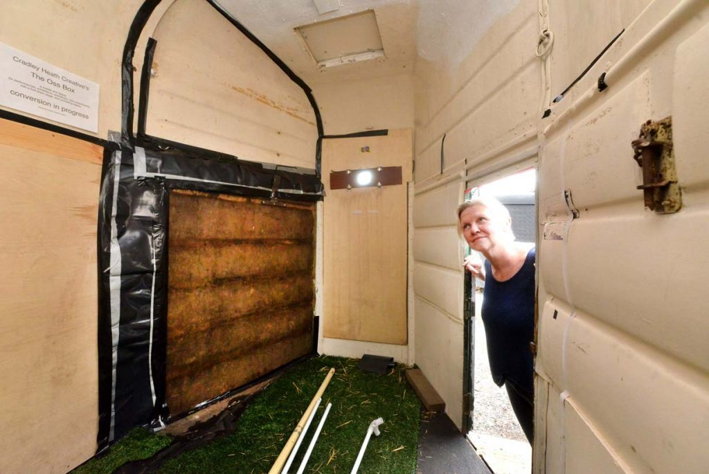 SANDWELL COPYRIGHT EXPRESS AND STAR STEVE LEATH 02/09/2016 Pics in Cradley heath of 'Cradley Heath Creative', and there multi purpose 'Oss Box', currently being turned into a stage , performance area, but recently it was used as a camera Obscura. Secretary: Elizabeth Lee pictured. Inside the box.