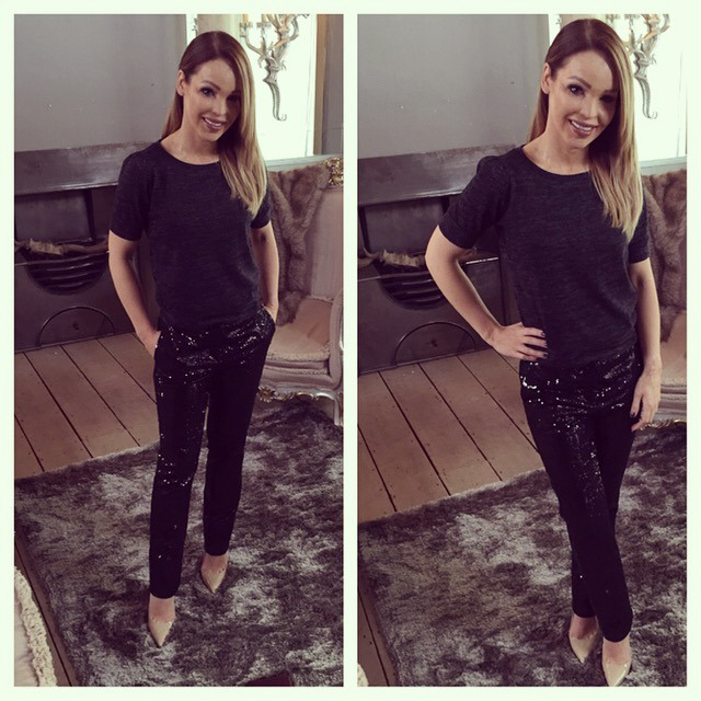shiny trousers & top